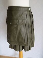 New with tags ladis ASOS 100% real leather Wrap around skirt, UK 10, olive green