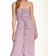 NWT  JILL STUART Women's RUFFLE FRONT LONG Mauve STRAPLESS DRESS 460849 Size: 12