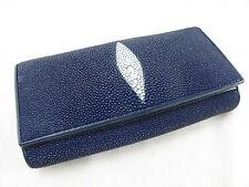 Genuine Stingray Skin Leather Women Bifold Clutch Wallet Blue + FREE SHIPPING