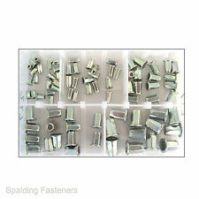 80 Assorted Metric Zinc Steel Hexagon Rivnut Rivet Nuts - M4, M5, M6 M8 & M10