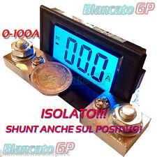AMPEROMETRO ISOLATO ±100A DC DIGITALE DA PANNELLO LCD LED BLU SHUNT 75mV nautica
