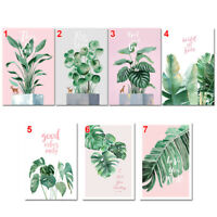 Modern Nordic Green Plant Leaf Canvas Art Poster Print Wall Picture Home QPT