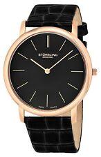 Stuhrling Men's Swiss Quartz Ultra Thin Rose Tone Black Leather Strap Watch