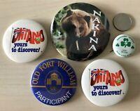 Lot of 5 Ontario Canada Pinbacks Buttons Ottawa Nakina Old Fort William #34562