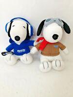 "MetLife Peanuts Snoopy 6"" Stuffed Plush Animal Toy Lot Ace Pilot & Headphones"