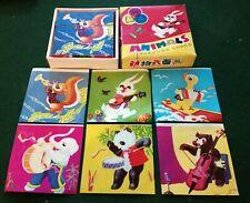 Vintage Retro Wooden Animals Picture Cubes Block Puzzle Nursery Kid's Bedroom