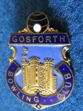 Vintage Bowling Enamel Badge - Gosforth Bowling Club - Made by HW Miller