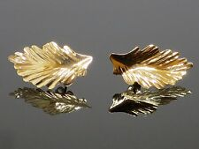 Vintage 1980s 14K Yellow Gold Leaf Design Post Earrings, 0.5g