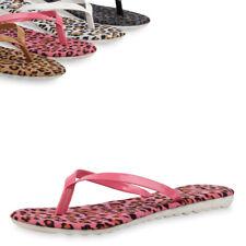Sommerliche Damen Sandalen Zehentrenner Lack Snake Flats 75748 Trendy Neu