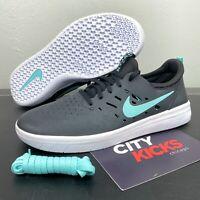New Mens Nike SB Nyjah Free Sz 10.5 Black Mint Skateboarding Shoes AA4272 006