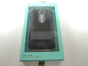 Kate Spade Wrap Hard Snap Case for Motorola DROID Turbo 2 Saffiano Leather Black