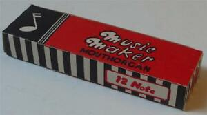 ORIGINAL UNUSED EMPTY PACKET FOR MUSIC MAKER MOUTHORGAN - EARLY 1950s