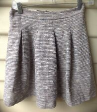 PORTMANS SZ 10 Womens Skirt Ivory Metallic Black Exposed Zip Mini Cotton EUC