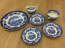 VINTAGE BLUE ROYAL WORCESTER SUBSIDARY 1790 AVON SCENES PALISSY ENGLAND 6 PIECES