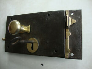 Antique Complete rare Georgian door lock with keep and key