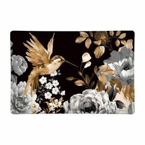 Michel Design Works Glass Trinket / Soap Dish Gardenia Hummingbird Black Grey