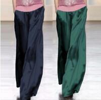 Womens 100% Mulberry Silk Palazzo Pants Wide Leg Trousers Loose Bottoms Sz
