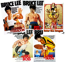 BRUCE LEE JOB LOT SET OF 5 MOVIE POSTERS LAMINATED 11 X 8 INCH ENTER DRAGON FIST