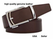 Men's Automatic Sliding Buckle genuine Leather Waist Belt shirts Gift top #VB014