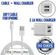 Double USB Cube Wall charger W/10ft lightning cable for iphone 5s,6,7,8,X,SE [M2