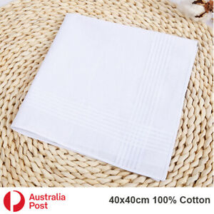 Bulk Sale Men Women 100% Cotton Large White Handkerchief Soft Hanky Pocket 40cm