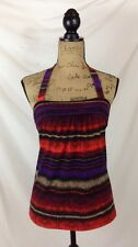 The Limited - Dark RED purple multi-color abstract stripe stretch halter, size S