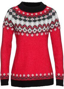 Norweger Pullover 44 46 rot schwarz Glitzer Winter Grobstrick Flausch Pulli neu