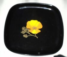 Vintage Mid Century Mod Couroc of Monterey California Poppy Footed Cocktail Tray