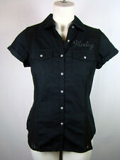 Harley-Davidson Womens Lace Inset Black Short Sleeve Shirt Top Blouse Woven S