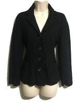 EAST Black Boiled Wool Unlined Blazer Cardigan Classic Jacket Autumn/Winter UK10