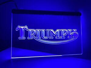 Triumph Motorcycles BLUE Neon LED 30x20 Light Spitfire Mancave Sign Garage Stag