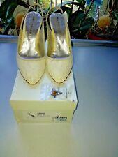 Martinez Valero Pumps 1x getragen Größe 41 Seide Spitze weiß ivory Hochzeit
