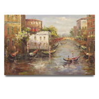 NY Art - Gondolas in Venice Canal 24x36 Original Oil Painting on Canvas - Sale