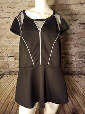 c70451ced85 Torrid Women s Shirt Plus Size 3 Black Fishnet Back Zipper Short sleeve t72