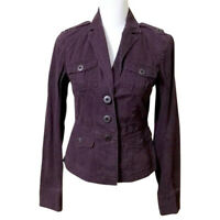 LOFT Classic Jacket Aubergine Size 4 Women's Cotton Plum Purple