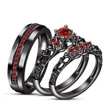 14k Black Gold Over 1.2Ct Round Garnet His & Her Trio Wedding Ring Set