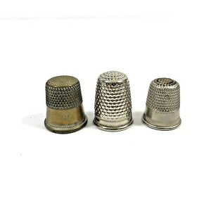Vintage Lot of 3 Metal Thimbles / Sewing Crafting Collectible