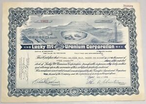 1958 LUCKY MC URANIUM CORPORATION Stock Certificate Nevada