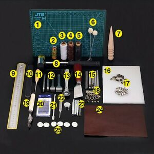 42 Pcs Leather Craft Tools Kit DIY Sewing Stitching Punch Carving Working Saddle