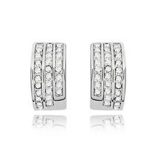 18K White Gold Plated Made With Swarovski Element Half Moon Stud Earrings