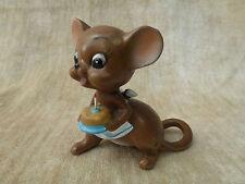 Vintage Josef Originals Mice Mouse - Ceramic foil tag Birthday Cake one candle