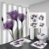Art Purple Tulip Door Bath Mat Toilet Cover Rugs Shower Curtain Bathroom Decor