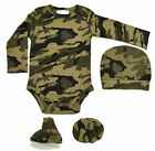 Mossy Oak Baby's Bodysuit, Hat and Bootie Set in Green Camo, 0-3 Months