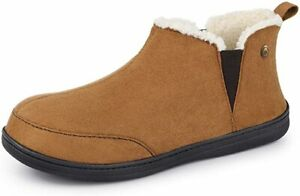 Men's Micro Suede Sheepskin Bootie Slippers Elastic Dual Gores Brown Shoes Size