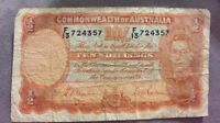 COMMONWEALTH OF AUSTRALIA TEN 10 SHILLINGS 1/2 POUND NOTE PICK 25a 1938-40 1939
