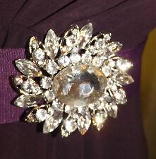 Diamante clear rhinestone silver plated brooch,bridal,maid,evening,prom (221)