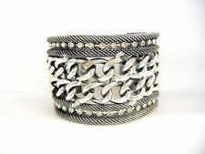 Chunky Punk Twice Chains Design Clear Crystal Silver Plated Cuff Bracelets
