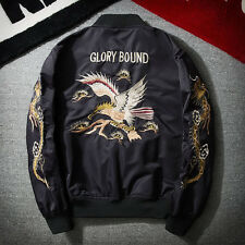 NEW Men's Fashion Embroidered Jacket Army Flight Bomber Jacket Coat thin Outwear