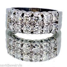 .75 Carat Wedding Band Diamond Ring Two Row 14k White Gold