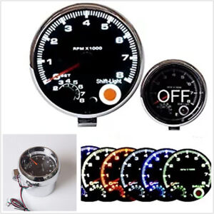 "3.75"" 95mm Car Truck 7 LED Color Digital Tachometer Adjustable 0-8000 RPM DC12V"